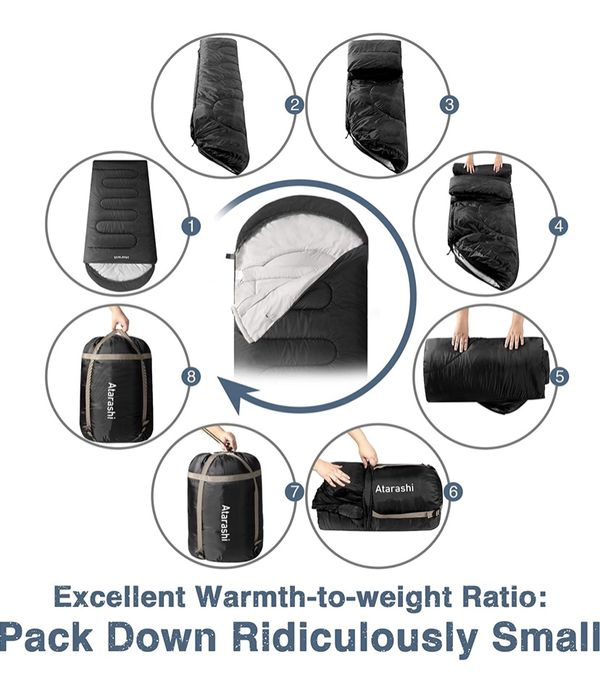 Camping Sleeping Bag- 4 Seasons for Adults, Light, Warm, Extra-Large with Compression Sack- Great for Hiking, Backpacking & Outdoor Adventures in Col
