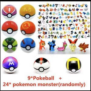 NEW 9pcs Pokemon Pokeball + 24pcs Action Figures Random Cosplay Pop-up BALL Kid Toys for Sale in Lewisville, TX