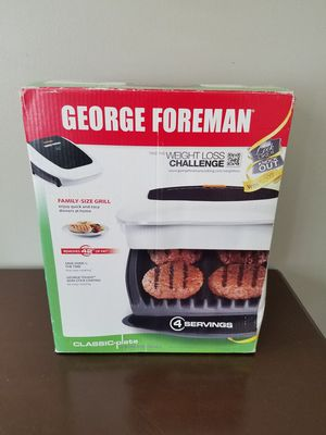 *New* George Foreman Classic Grill - 4 Plate Serving Size, White for Sale in Philpot, KY