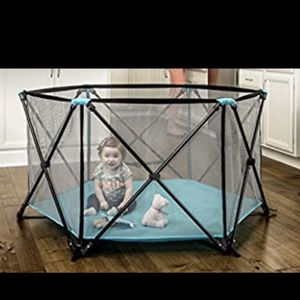 PLAYPEN WITH BLOW UP MAT -INFLATABLE MATTRESS FOR BABY COMFORT for Sale in Houston, TX