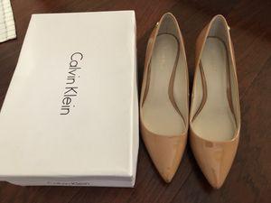 "Calvin Klein leather patent snake Tan Brown wedge shoe 2"" heel for Sale in Ashburn, VA"