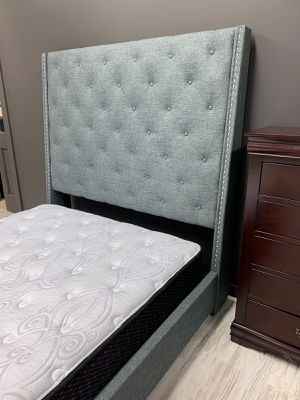 Brand New [SPECIAL] Chantilly Gray Upholstered Queen Size Bed Frame Only | 5265 for Sale in Jessup, MD