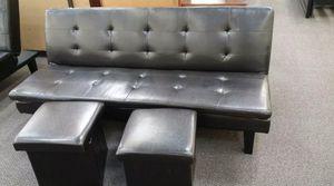 Brand New Espresso Faux Leather Futon Sofa Bed w/2 Storage Ottomans for Sale in Silver Spring, MD