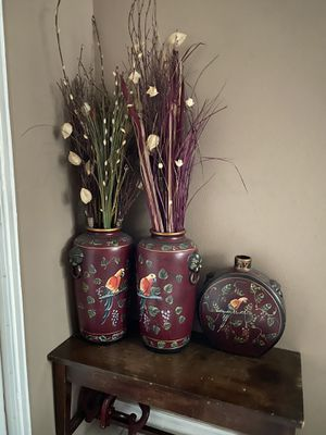 3 artificial flower high end vases pots for Sale in San Diego, CA