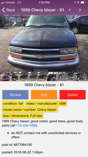 1999 Chevy blazer in a good condition for Sale in Houston, TX