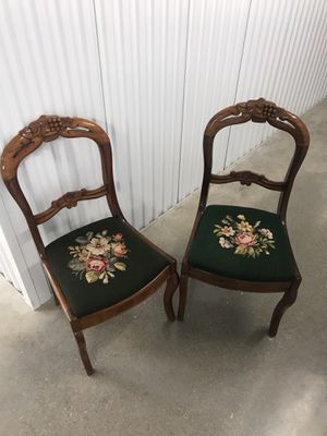 Tow embroidered wooden antique chairs for Sale in Houston, TX