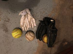 Youth softball glove, batting gloves & 3 softballs for Sale in East Hanover, NJ