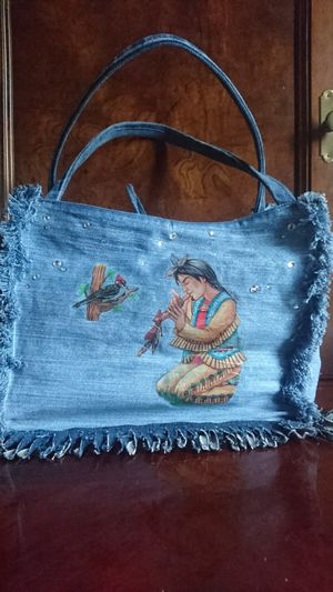 Handcrafted Women's Jeans Bag With Native American Tradition for Sale in Springfield, VA