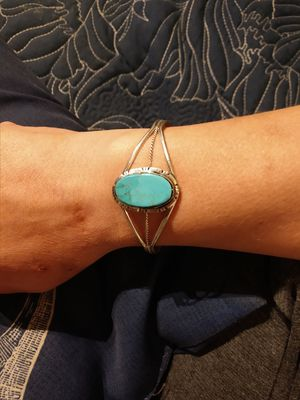 Beautiful turquoise sterling silver native American bracelet for Sale in Sandy, OR