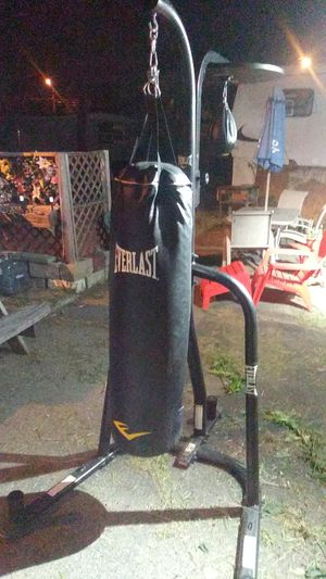 Everlast heavy bag and speed bag on weighted stand for Sale in Medford, MA