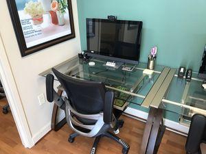 Office Furniture Glass computer desk for sale for Sale in Leesburg, VA