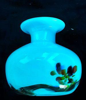 Light blue opaque mid century art glass studio art glass blown base for Sale in Saginaw, MI