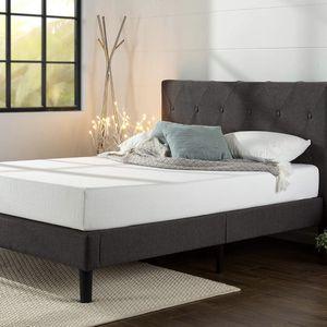 Upholstered Platform Bed Frame, Dark Grey, Queen for Sale in Cleveland, OH