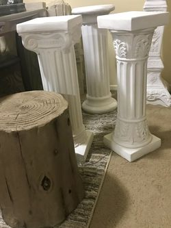 "Available Plaster Columns One 18"" Brown Round$100 Three 30"" h For $100 Each One 36"" h For$120 Pick Up Gaithersburg Md20877Cash Only Buy More Save More for Sale in Gaithersburg,  MD"