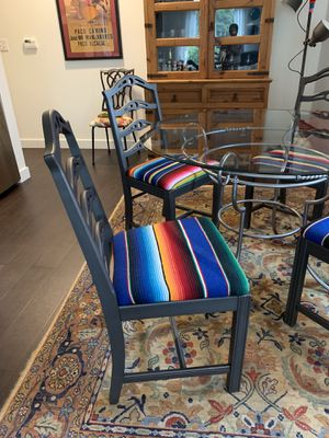 4 antique chairs with glass / Iron table for Sale in Portland, OR