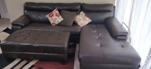 Leather Sectional couch and chaise with ottoman for Sale in Fairfax, VA