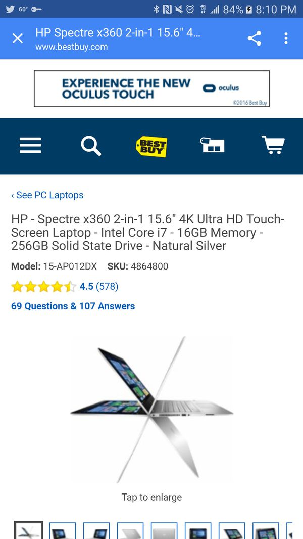 Hp Touch screen 15inch laptop. Monitor flips over for a tablet only touch screen.