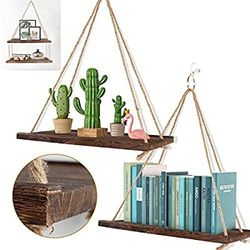 Set Of 3 Farmhouse Hanging Wall Shelves, 3 Stlye Hanging Ways Floating Shelf with Rope, Wood Hanging Plant Shelf for Bedroom, Bathroom for Sale in Las Vegas,  NV