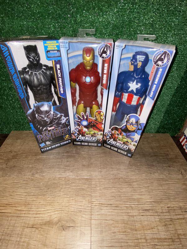 "Hasbro Black Panther, Iron Man and Captain America 12"""