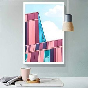 ((FREE SHIPPING)) fresh color tone modern building drawing - giclee print gallery wrap modern home decor Painting like print for Sale in Los Altos, CA