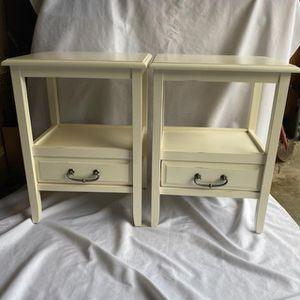 Pier 1 Cream Wood Nightstands for Sale in Lynnwood, WA