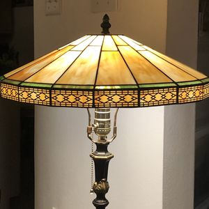 Vintage Slag Stained Glass Lamp Shade Caramel Black Green Art Deco Arts and Crafts Tiffany Style for Sale in Los Angeles, CA