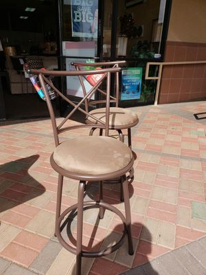 New 2 Bronze Bar Stools with microfiber seat cushions for Sale in Las Vegas, NV
