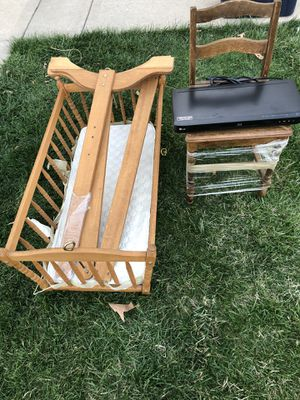 FREE cradle for new born, old antique kids chair, and DVD player for Sale in Lenexa, KS