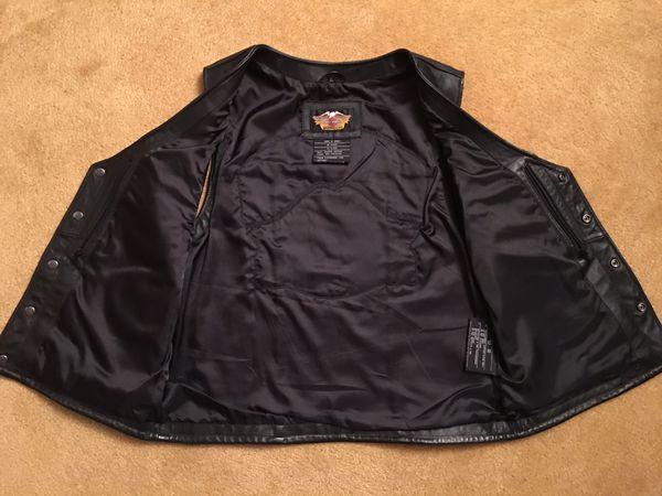 Men's Large Harley Davidson Black leather Vest