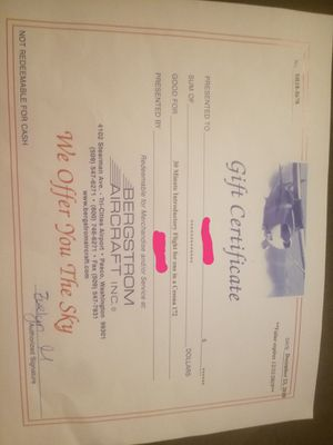 Bergstrom gift certificate for Sale in Kennewick, WA