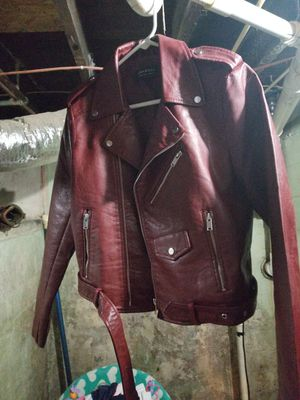 New wine leather biker jacket for Sale in Evansville, IN