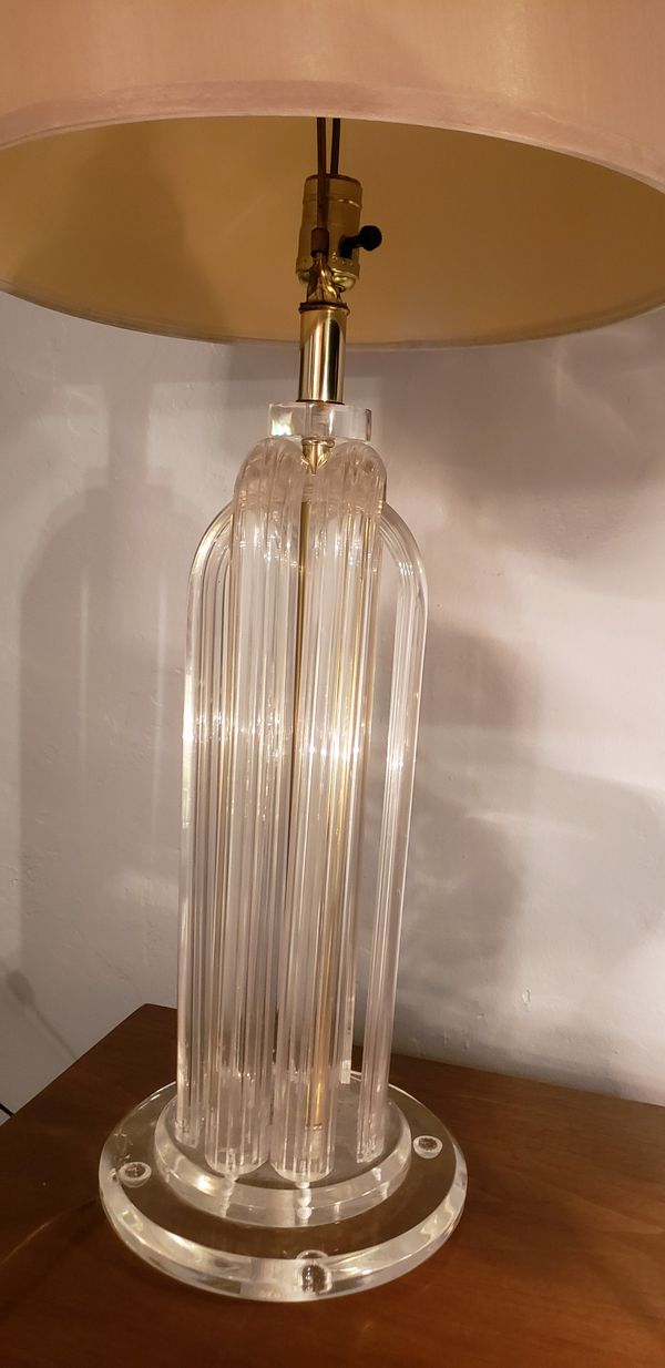 Mid century sculpted lucite table lamp