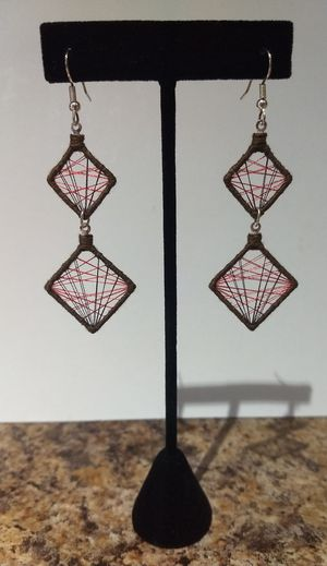 Red & Brown Threaded Diamond Shaped Earrings for Sale in Thornton, CO