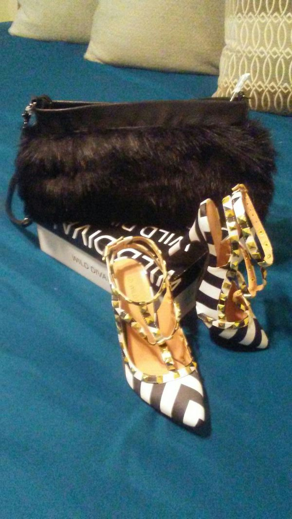 Black and white stripped Heel 5.5 with Black Fur Clutch that is also a Muff
