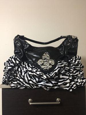 Fleur, black and white zebra ruffled bag, very big inside. for Sale in Lakewood, WA