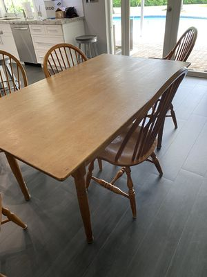 Antique farm dining table with 6 solid wood chairs for Sale in Miami, FL