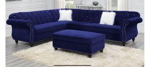 Royal blue velvet sectional 🎈🎈🇺🇸 for Sale in Fresno, CA