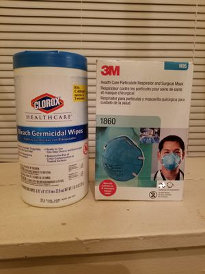Bleach wipes and 3m 1860 mask and bleach wipes for Sale in Kirklyn, PA