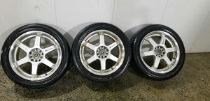 3. Three only 17 in 5x100 5x114.3 wheels rims and tires for Sale in Rockville, MD