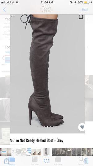 Fashion Nova High Thigh Grey Heeled Boot for Sale in Bronx, NY