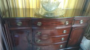 Antique mahogany, set of three,hutch table with six chair, China closet, for Sale in Seattle, WA