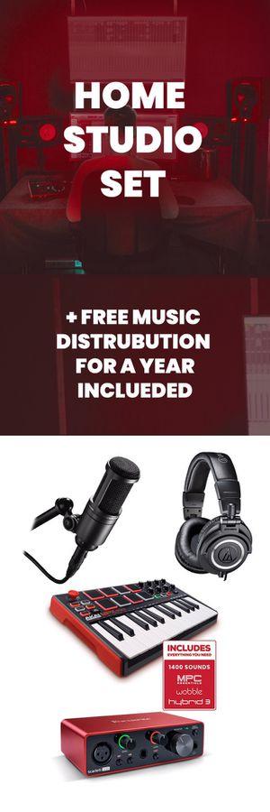 Home Music Studio Set - Microphone, MIDI Keyboard, Studio Monitor, Audio Interface, Music Distrubution for Sale in Stamford, CT