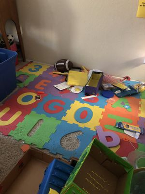 Foam letters, two boxes of toys, Misc buckets and jars, also not pic 2 bags of stuffed animals for Sale in Lemon Grove, CA