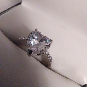 Size 6 White Sapphire Heart Ring 925 Sterling for Sale in Lombard, IL