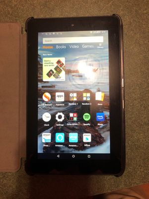 Amazon Fire with Leather Case for Sale in New Lenox, IL