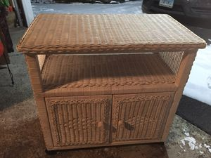 Wicker cabinet with lower storage & small shelf for Sale in Milford, CT