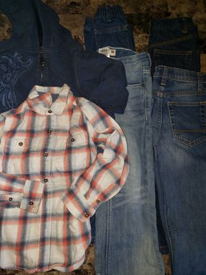 Size 5 in kids winter clothes $10: 4 pairs of Jean's, a sweatshirt, and a button up long sleeve! for Sale in Clovis, CA