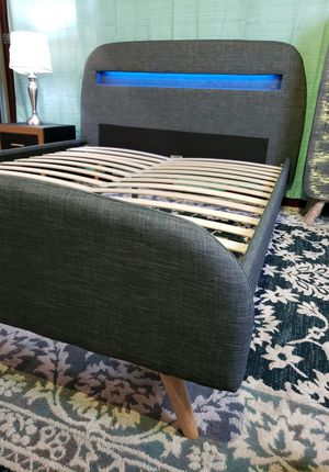 QUEEN upholstered platform bed frame come NEW IN BOX, mattress sold separately for Sale in West Palm Beach, FL