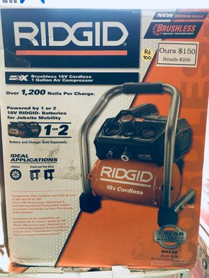 New Ridgid 18v Battery Powered 1 Gal Air Compressor R0230 for Sale in Newton, MA