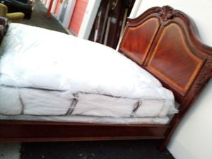 KING BED WITH FREE NEW MATTRESS AND BOX PLUS DRESSER, AND TV STAND for Sale in Gaithersburg, MD